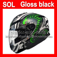 Wholesale 2013 NEW Arrival For SOL COOL Gloss glossy Green white black Cobra Helmet With LED Light MOTO full face helmet motorcycle helmet helmets