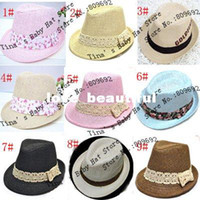 Boy Summer Crochet Hats Fashion Solid Color Baby Straw Fedora Kid Spring Summer Sunhat Baby Straw Sunhat Child Top Hat Baby Summer Topee Baby Fedora Hat