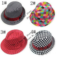 Boy Summer Crochet Hats Fashion Checked Baby Fedora Hat Kids Autumn Spring Jazz Cap Baby Canvas Top Hat Children Bucket Hat Fedoras Baby Dicer