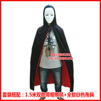 Wholesale Halloween costumes COS m color black hooded cloak Cloak Cloak Death