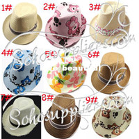 Wholesale Kids Trilby Fedora Hats Summer Beach Straw Fedoras Boy amp Girl s Summer Sunhat Sunbonnet LM