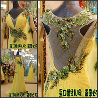 Wholesale 2013 Official Xijiang Sheath V neck Short Sleeve Yellow Royal Appliques Modest Evening Dresses Party Gowns