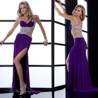 Wholesale A Line Stylish Sweetheart With Beaded Straps Empire Waistline Criss cross Back Chiffon Fabric Purple Prom Dress Evening Gowns