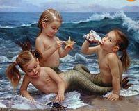 baby portrait paintings - Modern Art oil painting Portrait of Cute mermaid Children baby x36 no Frameless draw