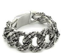 Wholesale 30mm Unique Fleur De Lis Carved Bangle Huge Heavy Men s Stainless Steel Bracelet Cool Punk Jewelry Gift Price