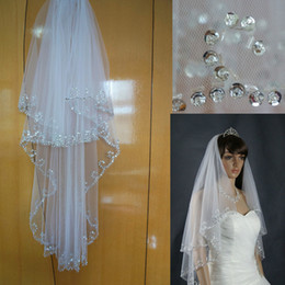 Bridal Veil Two Layer with Comb New Free Shipping Hip Length Sequin Beaded Wedding Bridal Veil