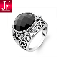 With Side Stones black onyx rings - JPF noble women rings vintage black onyx ring Korean jewelry fashion trend for men and women
