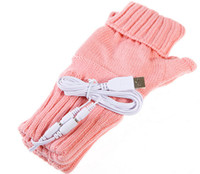 Wholesale Colors Choice Knitting Wool Heated Fingerless USB Gloves Hands Warmer for Women Men