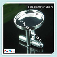 Wholesale Beadsnice cufflink back china cufflink findings cuff link blanks with mm round setting ID8659
