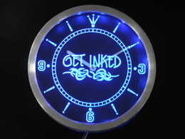 Wholesale nc0303 b Get Inked Tattoo Shop Neon Sign LED Wall Clock