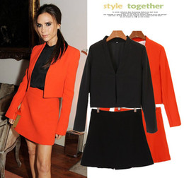 Wholesale Fashion OL Victoria Beckhams New Long Sleeve Suit Skirts Fashion Self cultivation Lady Two piece Dress Women s Blazers Outwear Clothes