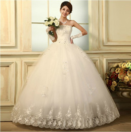 Wholesale Wedding dresses Han edition strapless dress new princess bind butterfly bridal gowns A02