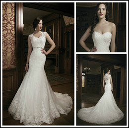 Wholesale 2014 New Best selling Sweetheart Mermaid Sweep Tulle Applique Lace Sexy Lady Detachable Jacket Bridal Gowns Wedding Dresses