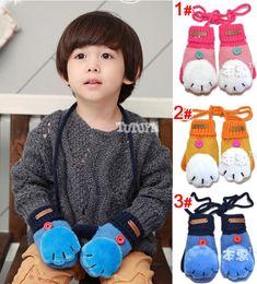 Wholesale Retail Winter Baby Children Gloves Cat Hand Design Fashion Warm Mittens Gloves Kids Gloves Pair