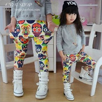 knit pants - New Arrival Kids Pants Autumn Colorful Skull Pattern Printed Haren Pants Girls Casual Knitting Pants