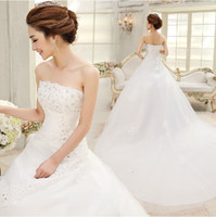 Wholesale Dress new retro sweet bind han edition trailing the princess bride wedding dress strapless gown with lace A03