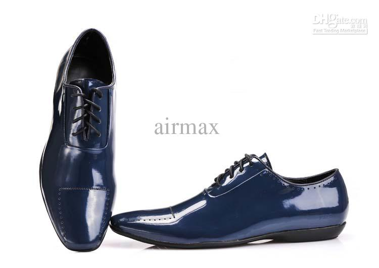 New Arrival Italian Brand Men'S Blue Dress Shoes Man Leather ...