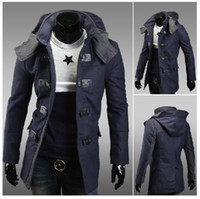 Wholesale 2016 Fashion Casual Men Trench Coat long sleeve hooded single breasted high quality men trench coats free ship f15