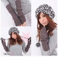 Wholesale Wool inclined stripe arm sleeve woman half mittens knitted gloves