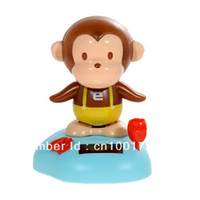 2-4 Years Multicolor Metal Solar Power Head Shaking Monkey Doll Toy