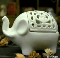 Wholesale Hot Sale European classical White Elephant Ceramic candle holders for party favor Wedding gift for guests