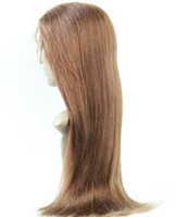 Indian hair Swiss Lace average Best Sale U Part Wig Cheap Yaki Straight Virgin Indian Human Hair Swiss Lace Front Wig #4 Medium Brown Free Shipping