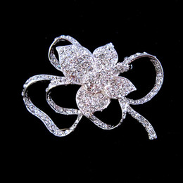 Silver Clear Rhinestone Crystal Rose Bouquet Diamante Flower Brooch