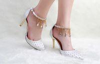 Wholesale NEW Wedding shoes Bridal shoes women s Diamond tassel High heels Shoes Bridal Shoes sandals HW49