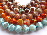 Wholesale mm Tibetant fire agate onyx gemstone round ball faceted evil amber rose blue mixed jewelry beads strands inch L