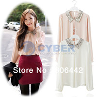 Wholesale shirt Hot Sale Womens Vintage Sequins Peter Pan Collar Puff Sleeve Sheer Loose Tops Chiffon Colors Sizes Abie