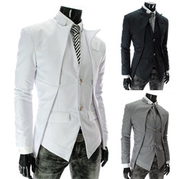 Wholesale Stylish Design Men s Suit Blazer Jacket Fashion Slim Business Suit Outwear Two Buttons Overcoat White Grey Black AW0928