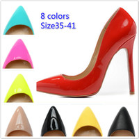 sexy high heels - new women pointed shoe heels pumps brand patent leather sexy high heels dress shoes colors