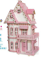 Wholesale LLFA2323 DIY cabin doll house creative hand room model house assembly building with light