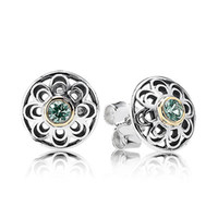 Silver green synthetic - New Arrivals Brand Hot European Silver Jewelry for PANDORA Stud Earring With K And Green Synthetic Spinel pairs