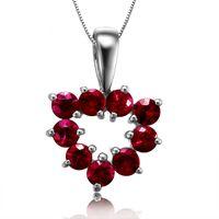 Wholesale GVBORI Natural Ruby Diamond K White Gold Necklace Pendant Gemstone Jewelry LOVE Fine Jewelry