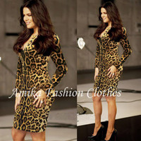 Wholesale New fashion Leopard Print Stretch Bodycon Women O neck Long sleeve cocktail party Pencil Midi Dresses Size S M L XL