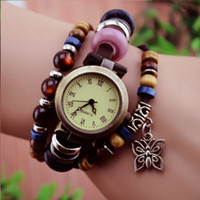 Wholesale Retro Quartz Fashion Weave Wrap Around Leather Bracelet Bangle Womens Tree Leaf Green Girl Watch