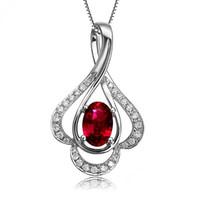 Wholesale Love Gift GVBORI Ruby gemstone Diamond Pendant Sterling silver Chain Necklace Women Necklace Fine Jewelry Christmas