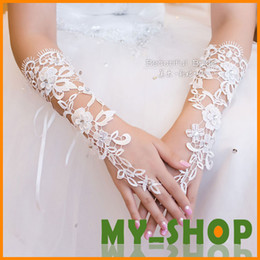 Wholesale Bridal Gloves About cm Luxury Lace Diamond Flower Glove Hollow Wedding Dress Accessories HQ0900