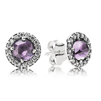Wholesale New Arrivals Brand Hot European Silver Jewelry for PANDORA Stud Earring With Amethyst And Cubic Zirconia pairs