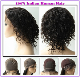 Wholesale New Arrival EMS Free Rani Hair Indian Remy Human Hair Full Lace Wigs Two Style Caps Color Darkest Brown Inch Curly NF073