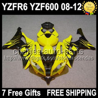 7gifts Fairing Black flames Yellow For YAMAHA YZFR6 08- 12 YZ...