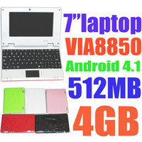 7-7.9'' Android 4.0 Multi Touch Cheap Colorful 7 inch VIA 8850 ARM 1.5GHz MINI Laptop Notebook Computer with WIFI HDMI 800*400 Android 4.0 RAM 512MB&1GB ROM 4G