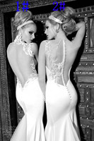 Wholesale 2013 New Sexy Mermaid Embroidery Applique Galia Lahav Graceful White ivory Wedding Dresses Sexy Backless Evening Dresses