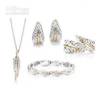 Unisex Anniversary Sterling Silver Wholesale - 925 sterling silver leaf necklace bracelet earrings set,fashion 925 silver jewelry set nec