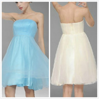 Wholesale Simple Styles New Cheap Elegant Special Strapless Knee Length Bridesmaid Dresses Wedding Party Dresses