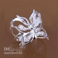 Wholesale Fashion Jewelry Silver Inlaid Butterfly Ring Opened R035