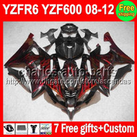 7gifts Fairing For YAMAHA YZFR6 08- 12 YZF R6 YZF- R6 Red flam...