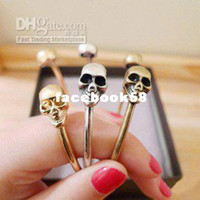 Wholesale Four colors Hot double skull head bangle Fashion Cuff Bangle bracelet NO