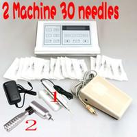 Wholesale A Quality Professional Permanent Makeup Silver Machine Pen Needles Tip Eyebrow Lip Tattoo Kits Permanent Makeup Kits Power Supply DHL